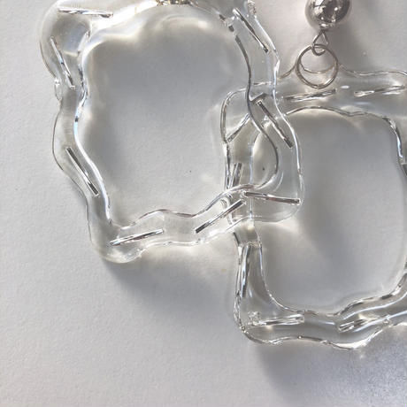 [silver]clear frame  pierce/earring