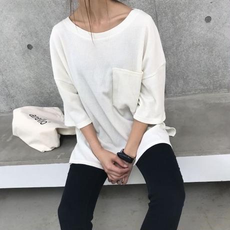 ポケット付ビッグシルエットワッフルTシャツ(4color)【クリックポスト対象商品】