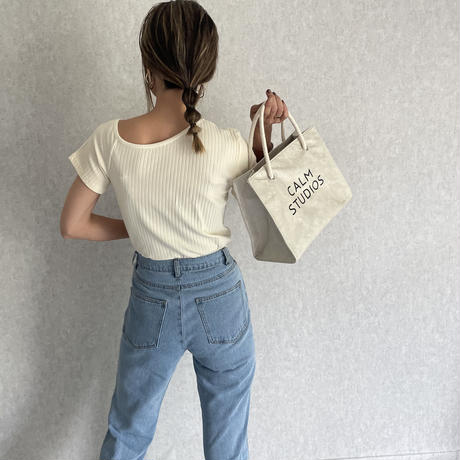 アシンメトリーリブTシャツ(2color)