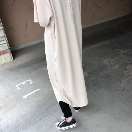 バックボタンデザイン!裾ラウンドゆったりワッフルTシャツワンピース【クリックポスト対象商品】
