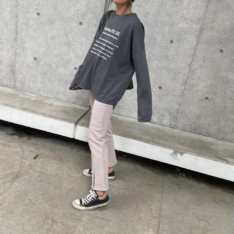 楽な履き心地ストレッチ入り!デニムセンタースリットフレアパンツ(3color/2size)
