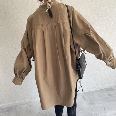 3月5日最後の再入荷!在庫限り!【2021ss】サイドリボンデザイン!タイプライターバンドカラービッグシャツ(3color)【クリックポスト対象商品】