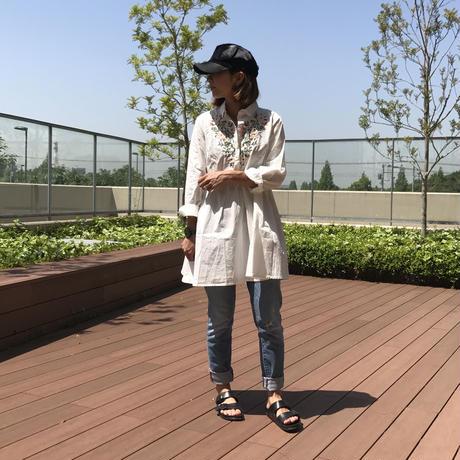 フラワー刺繍柄チュニック/ワンピース【クリックポスト送料無料】