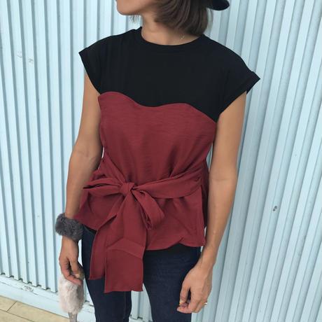 ウエストリボンビスチェドッキングTシャツ(2color)【クリックポスト対象商品】