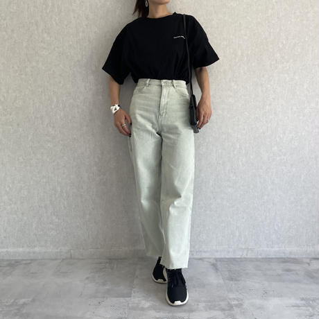淡色カラーカットオフデニムストレートパンツ(3color/2size)