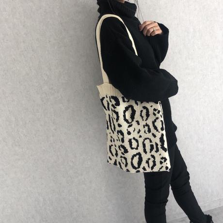 レオパード柄ニットトートバッグ(3color)