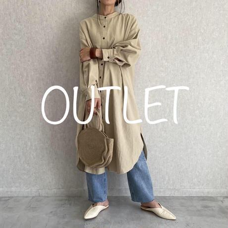 【OUTLET】レースアップシャツワンピース(オフホワイト)