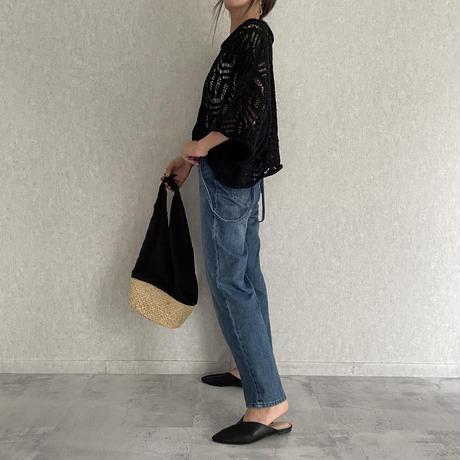 柄透かし編みショート丈ニット(3color)