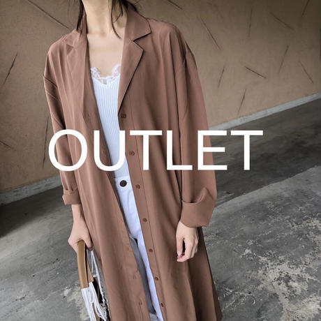【OUTLET】ウエストリボン付き!開襟ゆったりシャツワンピース【クリックポスト対象商品】