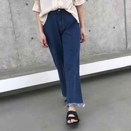 裾フリンジワイドデニムパンツ/フレイドヘム(2color)【クリックポスト対象商品】