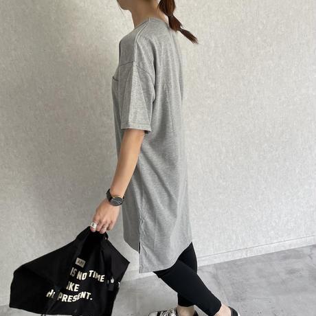 胸ポケットシンプルロングTシャツ(2color)