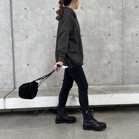 裾絞りデザインオーバーサイズ裏起毛パーカー