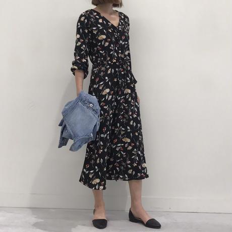 再々入荷!!レトロ花柄ノーカラーロングワンピース/ガウン(3color)