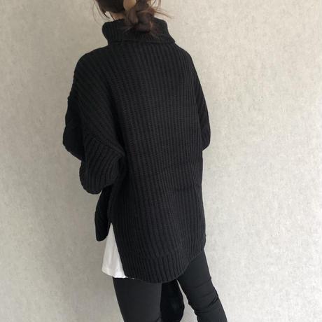全カラー12月10日再入荷!サイドスリットデザイン!ゆる可愛いケーブル編みタートルニット(3color)