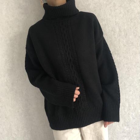 やわらかな肌触り♪ケーブル編みハイネックニット(2color)