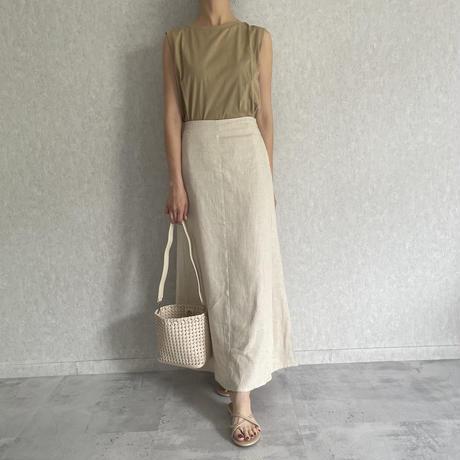 リネンブレンドロングフレアスカート (2color)
