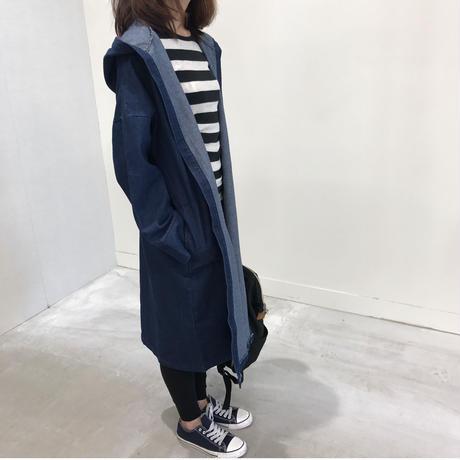 ★再入荷★フード付コットン長袖ゆったりドルマンデニムコート