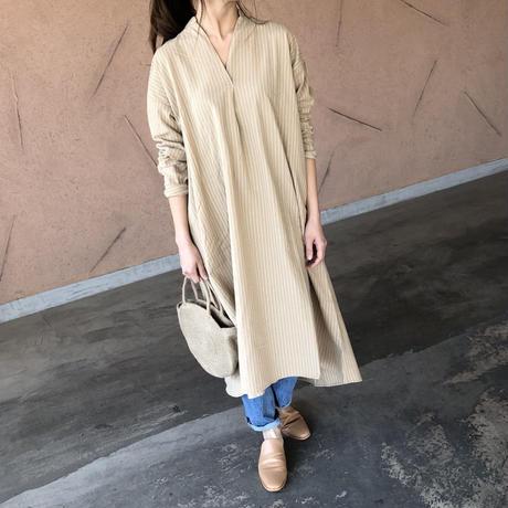 ストライプスキッパーロングシャツ ワンピース(2color)【クリックポスト対象商品】