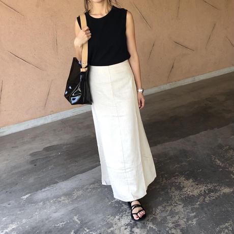 リネンブレンドフレアロングスカート (3color)【クリックポスト対象商品】