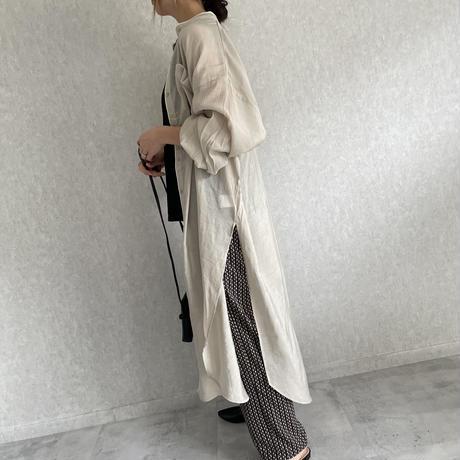 シアーバンドカラーパイピングデザインシャツワンピース(2color)