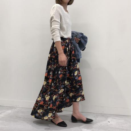 ★予約販売/4月上旬再入荷★花柄アシンメトリーロングスカート(4color)