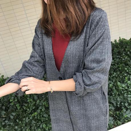 今季旬!ビッグシルエットグレンチェックノーカラージャケット【クリックポスト対象商品】