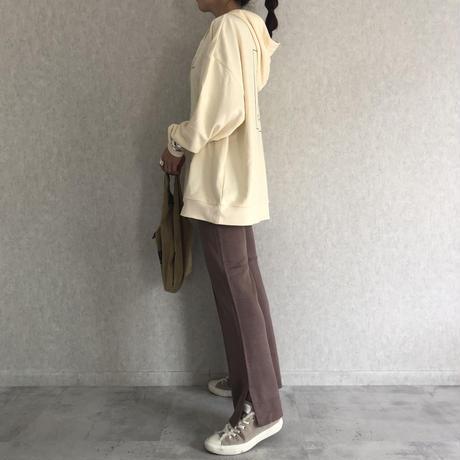 再入荷!美シルエット裾スリットデザイン!センターシームフレアニットパンツ(3color)【クリックポスト対象商品】