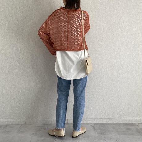 【2021ss】レイヤードスタイルに♪ 透かしメッシュ編みニット(2color)【クリックポスト対象商品】