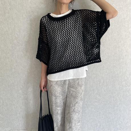 メッシュ編み半袖ニット(3color)