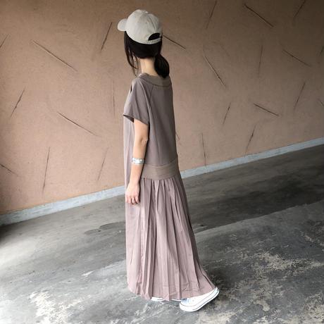 大人気シリーズ!バックプリーツスウェットTシャツ ワンピース(3color)【クリックポスト対象商品】