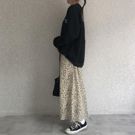 ダルメシアン柄フレアロングスカート