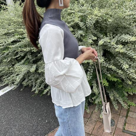 ボリューム袖ニットドッキングシャツ(2color)