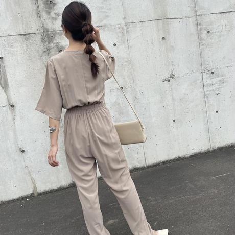 5分袖ジャンプスーツ(3color)