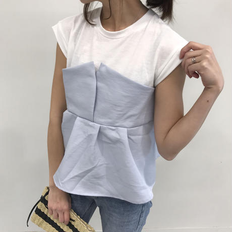 タックフレアビスチェドッキングTシャツ(2color)【クリックポスト送料無料】