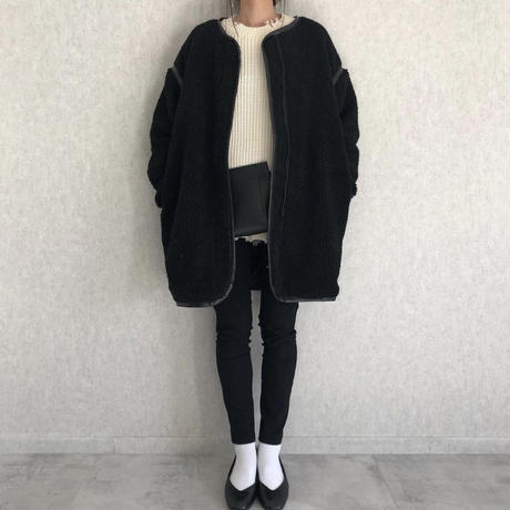 レザー調ノーカラーパイピングボアミドル丈コート(3color)