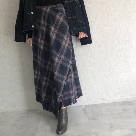 巻きスカート風チェック柄ロングスカート (2color)