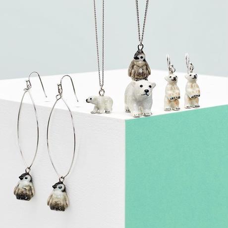 AndMary/動物シロクマ&ペンギンネックレス「プレゼント」