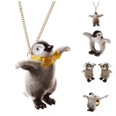 アンドマリー/翼広げるペンギンピアス/プレゼント