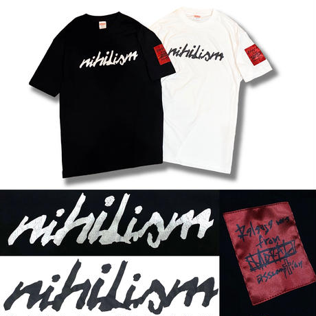 Nihilism Crack Print T-shirt (Black × White)