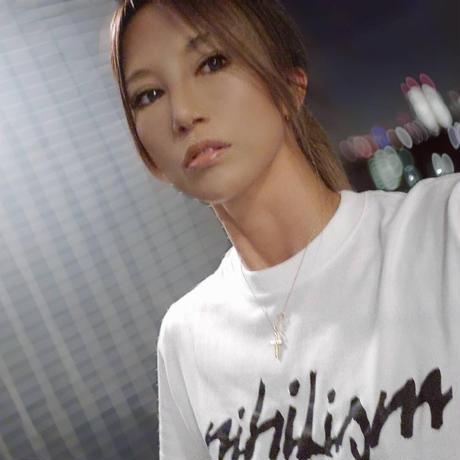 Nihilism Crack Print T-shirt (White × Black)