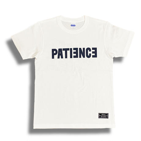 PATIENCE T-shirt (White × Dark navy)