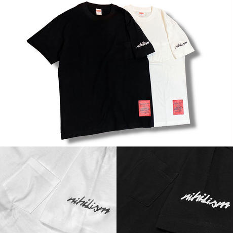 Nihilism Pocket T-shirt (White × Black)