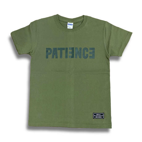 PATIENCE T-shirt (Khaki × Dark green)