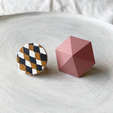 サークル&六角形イヤリング(セット) ダイヤ柄/ピンク