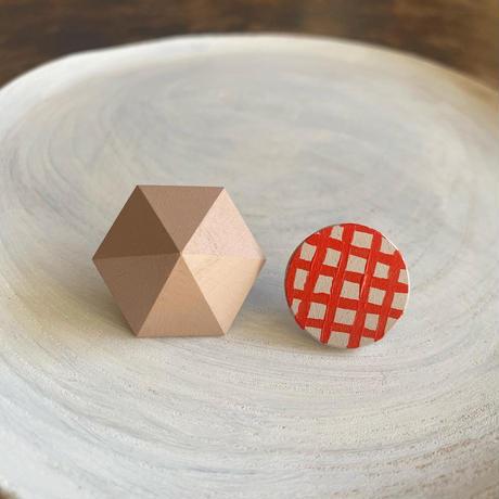 六角形&サークルピアス(セット) ピンク/スモークピンク(チェック)