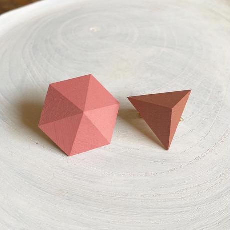 六角形&三角形イヤリング(セット)ストロベリーアイス/オールドローズ