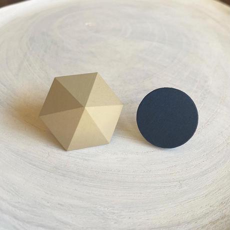 六角形&サークルピアス(セット) オリーブグレー/ネイビー