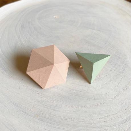 六角形&三角形イヤリング(セット)ミルキーピンク/アイスグリーン