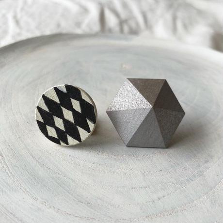 サークル&六角形ピアス(セット) ダイヤ柄/シルバー