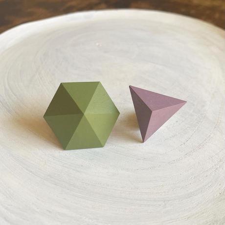 六角形&三角形ピアス(セット) アイビーグリーン/アンティークモーブ